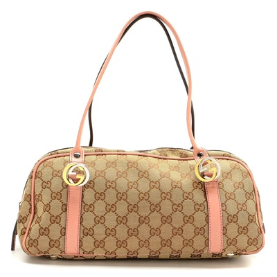 Gucci Twins Boston Bag in GG Canvas and Blush Pink Leather Trim
