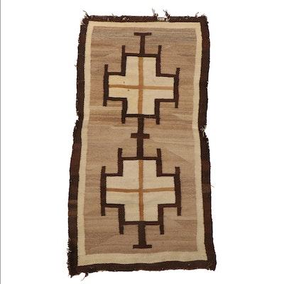 2'4 x 4'7 Handwoven Navajo Wool Double Saddle Blanket