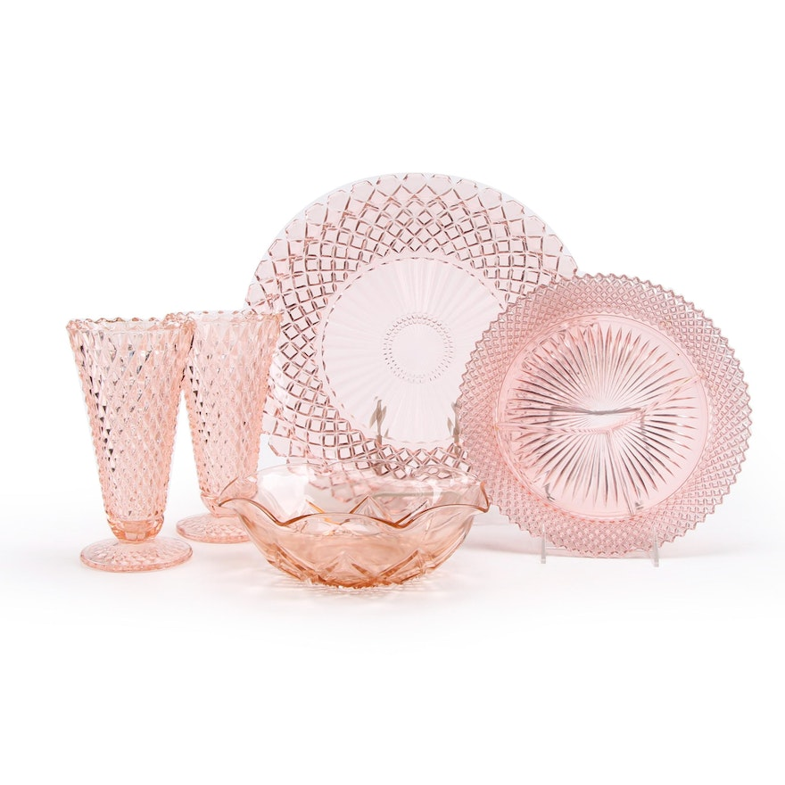 """Imperial """"Diamond Quilted"""" Vases with Other Pink Depression Glass Dinnerware"""