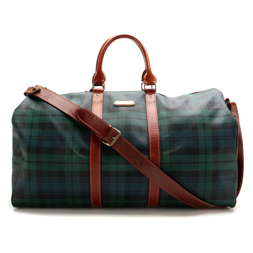 """Polo Ralph Lauren Duffle in """"Black Watch Plaid"""" Coated Canvas and Brown Leather"""