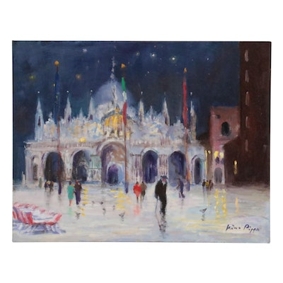 """Nino Pippa Oil Painting """"Venice Night - St. Mark Cathedral Under Snow,"""" 2014"""