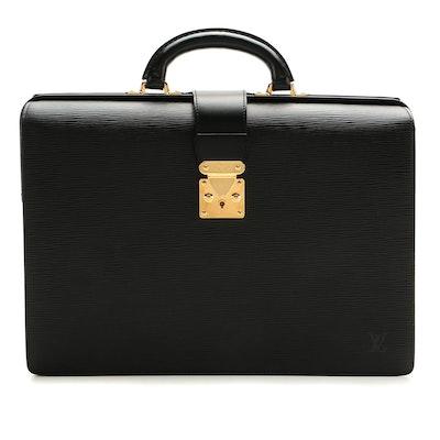 Louis Vuitton Serviette Fermoir Briefcase in Black Epi Leather
