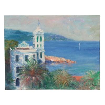 "Nino Pippa Oil Painting ""Italian Riviera - Bordighera,"" 2015"