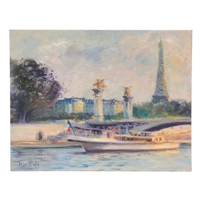 """Nino Pippa Oil Painting """"Paris - Cruising the Seine,"""" 2018"""