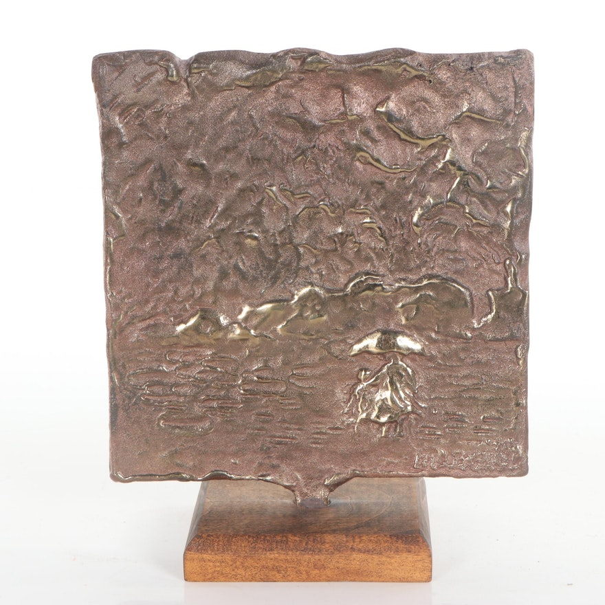 Abstract Gold-Clad Bronze Plaque, Late 20th Century