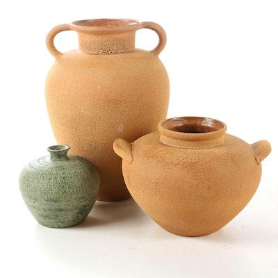 Haeger Terracotta-Glazed Vases with Green-Glazed Ceramic Vase
