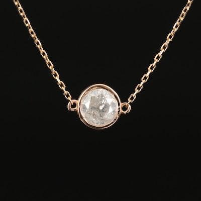 18K 1.00 CT Bezel Set Diamond Solitaire Necklace