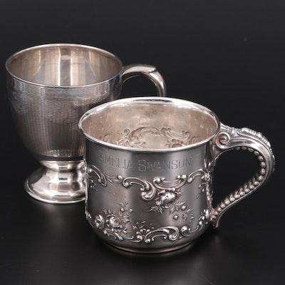 Gorham Sterling Silver Repoussé Mug with William Suckling Sterling Mug
