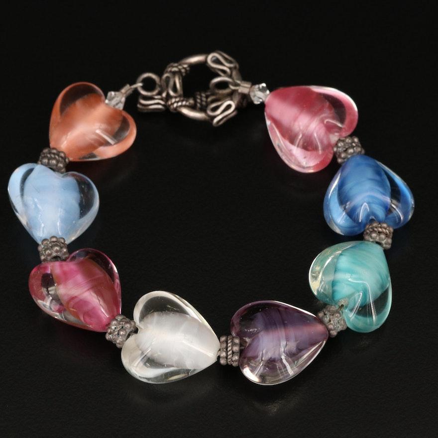 Sterling Silver Glass Heart Bead Bracelet