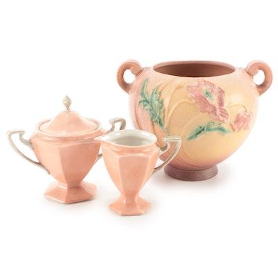 "Roseville ""Poppy"" Rose Bowl with  L. Bernardaud & Cie Limoges Cream and Sugar"