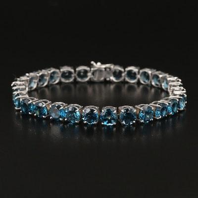 Sterling Silver Topaz Line Bracelet