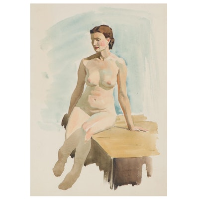 Edmond Fitzgerald Figural Watercolor Painting of Seated Female Nude