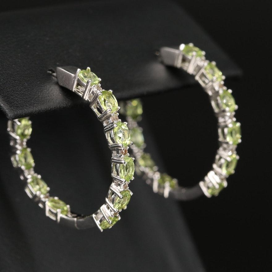 Sterling Peridot Inside-Out Hoop Earrings
