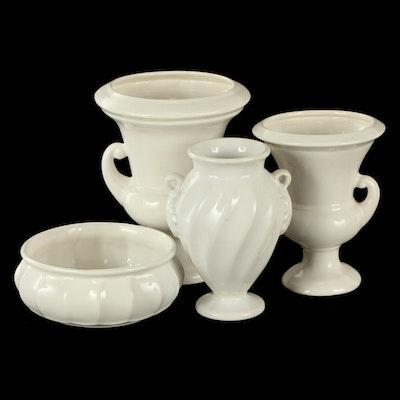Haeger Pottery Cream Ceramic Vase, Urns and Planter