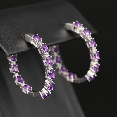 Sterling Amethyst and Zircon Inside-Out Hoop Earrings