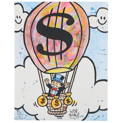 "Will $treet Pop Art Mixed Media Painting ""Balloon Man of Z,"" 2021"