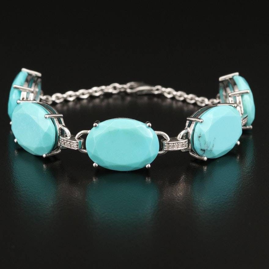 Sterling Silver Turquoise and Diamond Link Bracelet