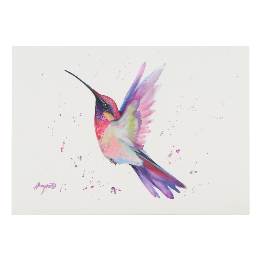 Anne Gorywine Watercolor Painting of Hummingbird, 2021