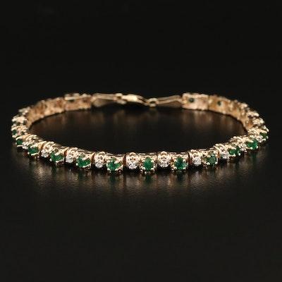 10K Emerald and Diamond Bracelet