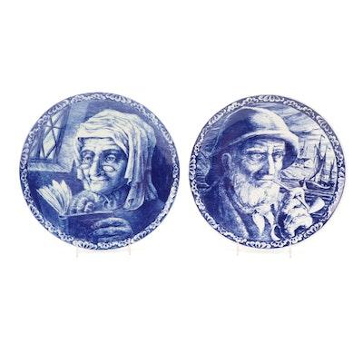 Boch Frères of La Louvière Delft Ceramic Wall Plates