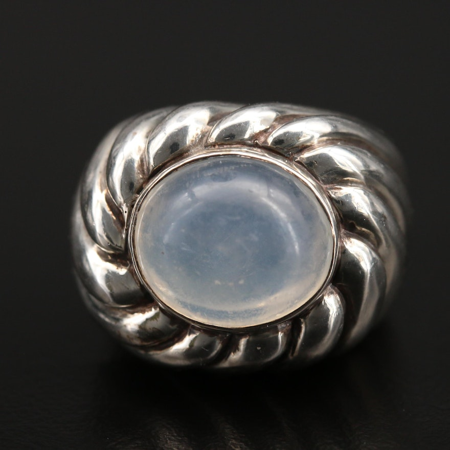 Sterling Moonstone Fluted Ring