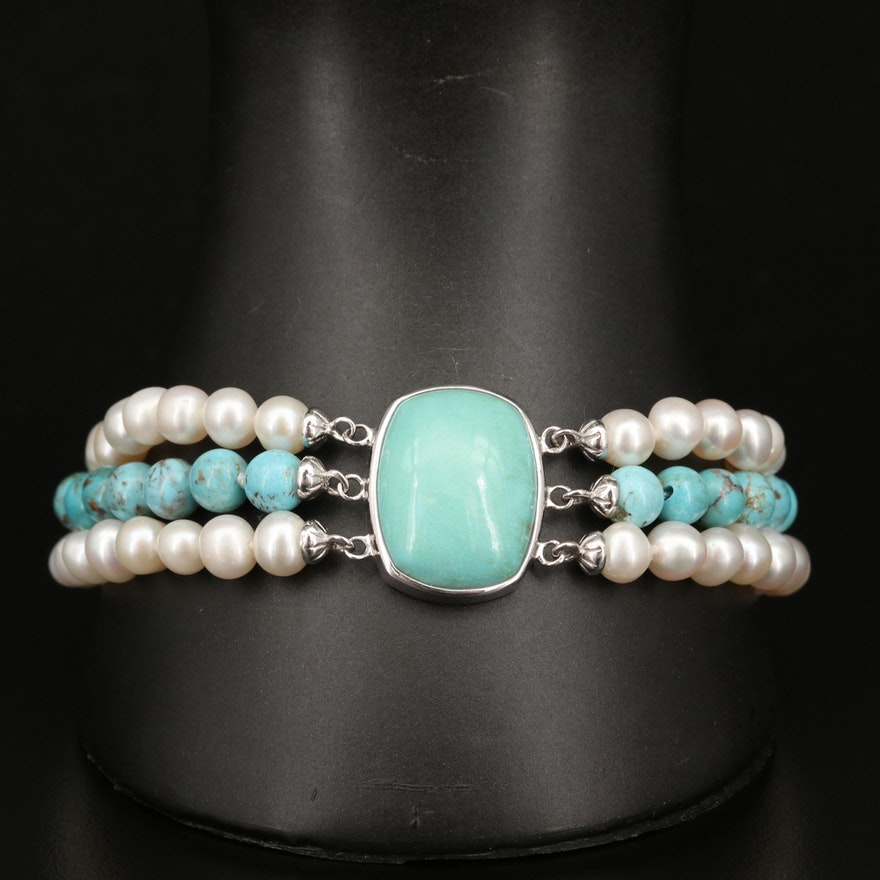 Sterling Turquoise and Pearl Triple Strand Bracelet