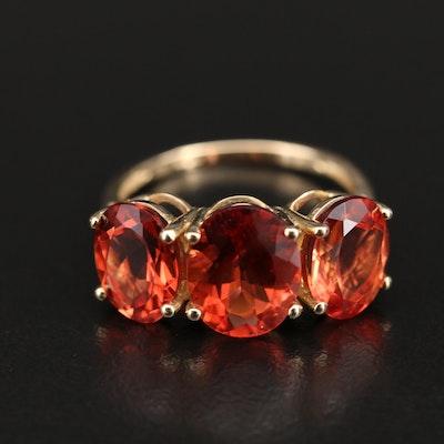 9K Cubic Zirconia Three Stone Ring
