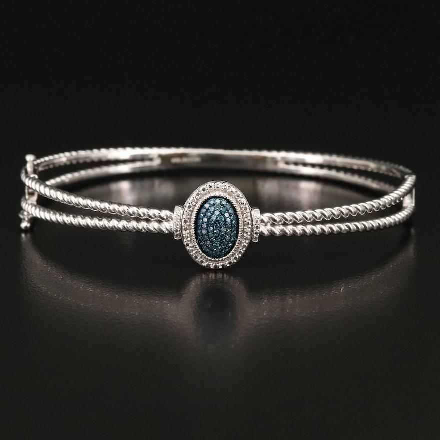 Sterling Silver Blue Diamond Hinged Bangle