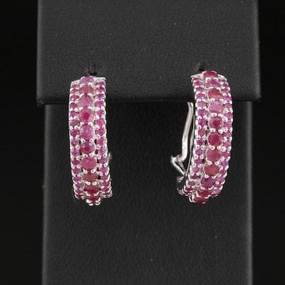 Sterling Silver Ruby J Hoop Earrings