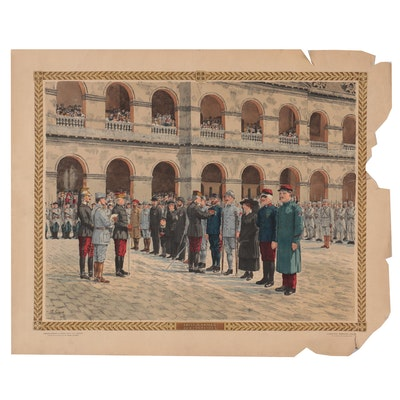 """Th. Smid Hand-Colored Lithograph """"Prise d'Armes aux Invalides,"""" Circa 1916"""