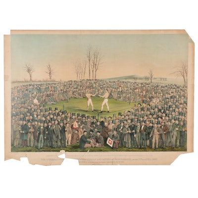 Boxing Hand-Colored Lithograph After W. L. Walton, 1860