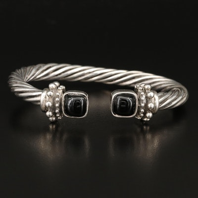 Sterling Silver Faux Black Onyx Cuff