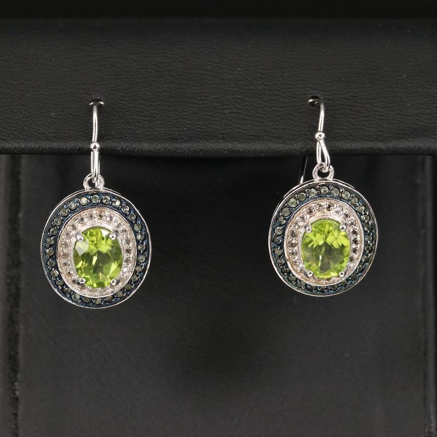 Sterling Peridot and Topaz Earrings