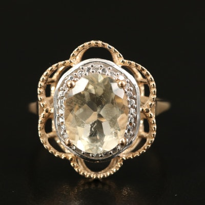 10K Labradorite and Zircon Ring
