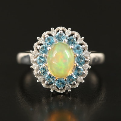 Sterling Opal, Topaz and Diamond Scalloped Halo Ring