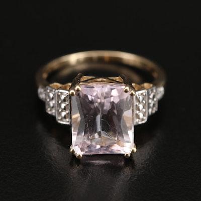 9K Spodumene and Diamond Ring