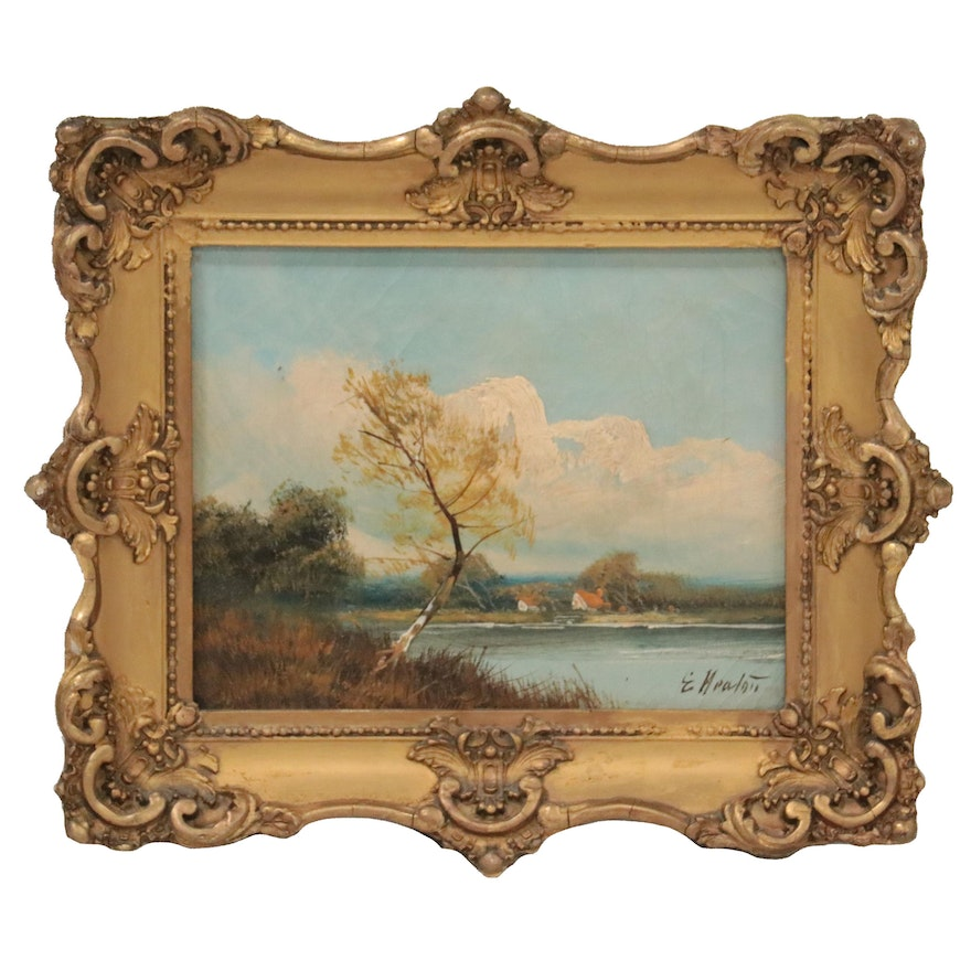 Lake Landscape Oil Painting, Early 20th Century