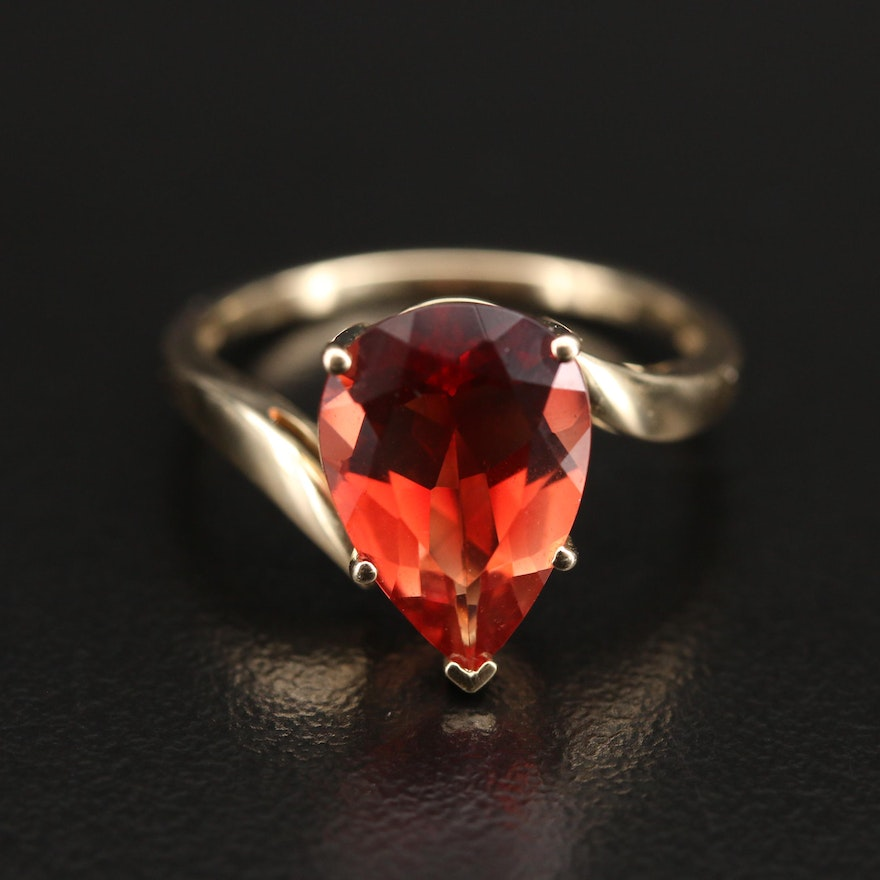 9K Cubic Zirconia Bypass Solitaire Ring