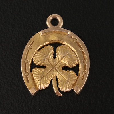 Vintage 10K Clover and Horseshoe Good Luck Charm