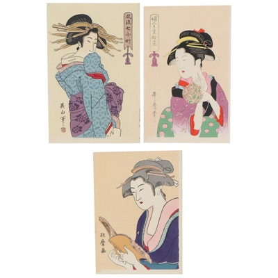 Ukiyo-e Style Bijin-ga Woodblocks after Kitagawa Utamaro