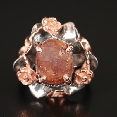 Sterling Rough Cut Citrine Floral Ring
