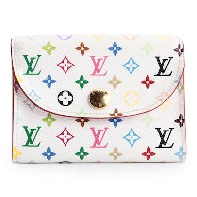 Louis Vuitton Card/Coin Purse in White Multicolor Monogram Canvas