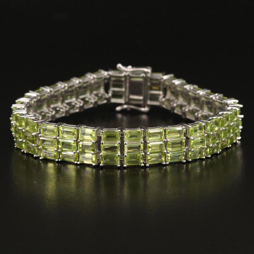 Sterling Silver Peridot Triple Row Bracelet
