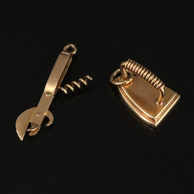 Vintage 14K Clothes Iron and Bottle Opener Charms