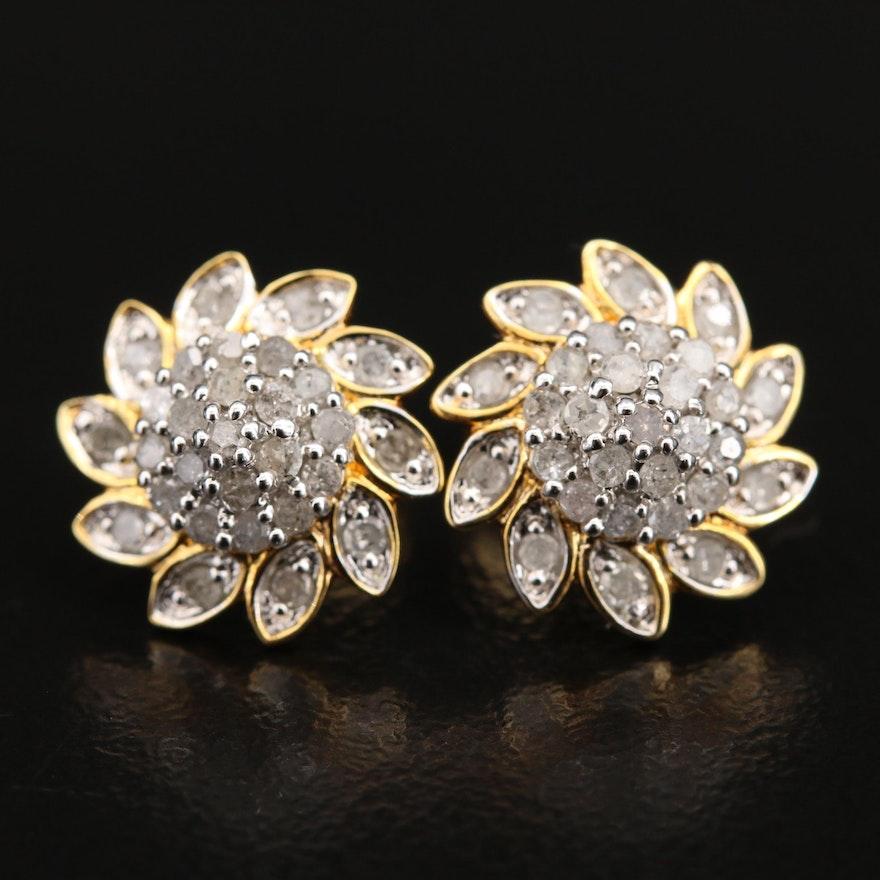 Sterling Diamond Floral Earrings