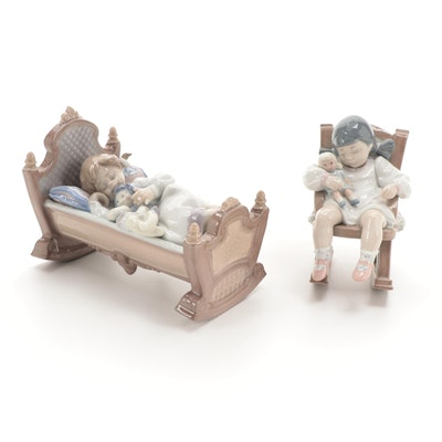 """Lladró """"Rock A Bye Baby"""" and """"Naptime"""" Porcelain Figurines"""
