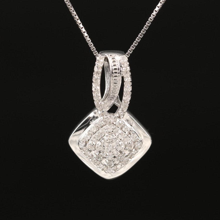 Sterling Pavé Diamond Pendant Necklace