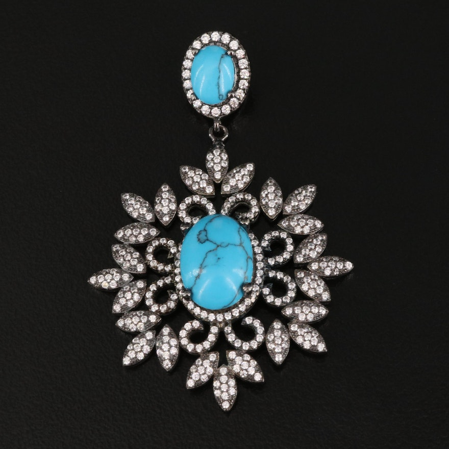 Sterling Silver Imitation Turquoise and Cubic Zirconia Pendant