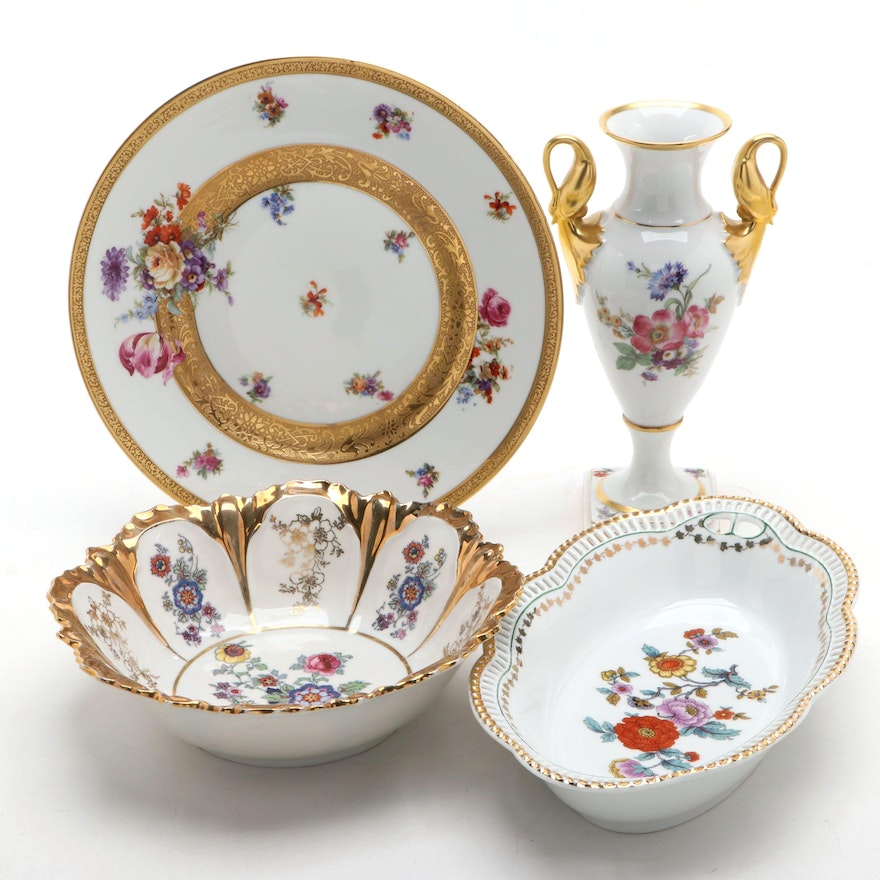 German and Other Gilt Decorated Porcelain Tableware and Vase