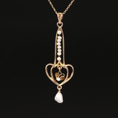 Victorian 14K Diamond and Pearl Lavalier Pendant Necklace